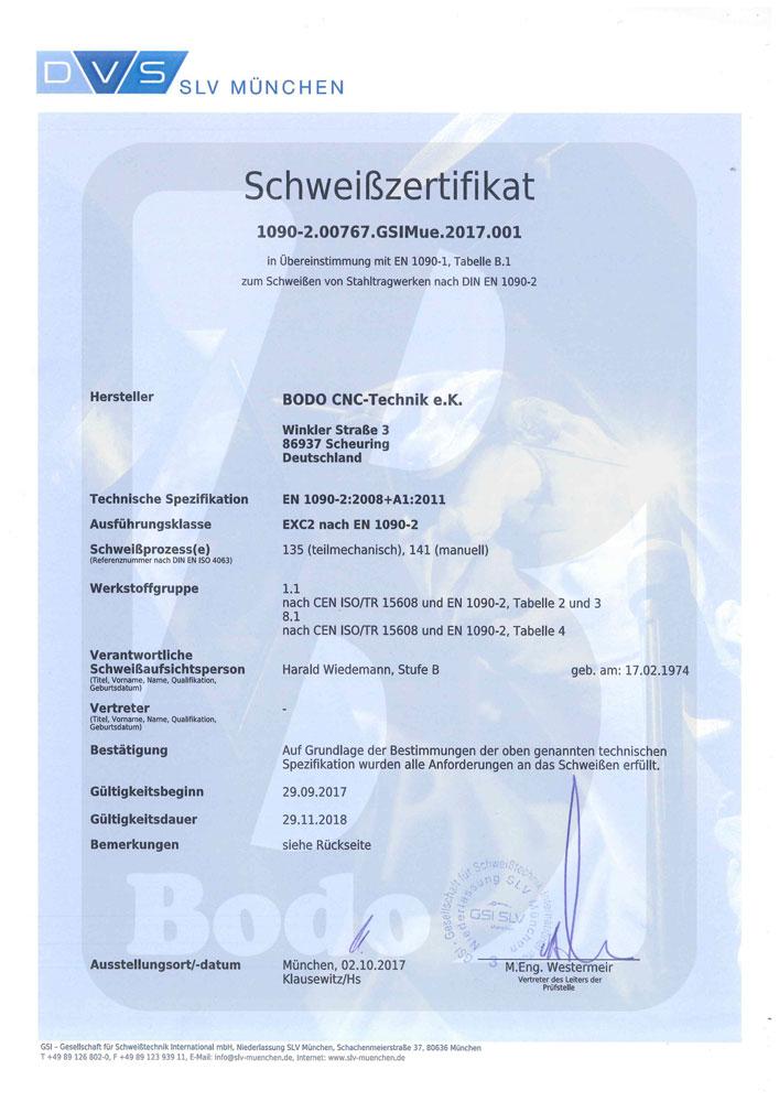 Zertifizierter Schweißfachbetrieb